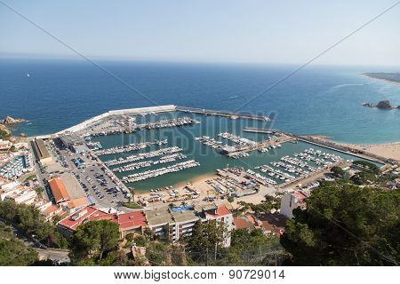 View Of The Port In Blanes Costa Brava From High Above.