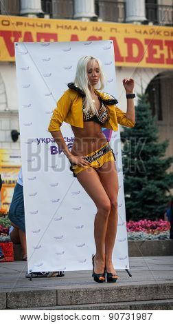 Ukraine, Kiev - September 11,2013: Incendiary Dance Dancer At The Independence Square During The Act
