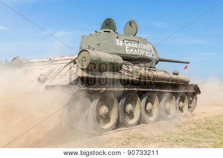 Soviet tank T-34, the inscription on the turret: For the Soviet Belarus poster