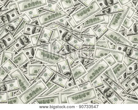 Pattern Of One Hundred Dollar Bills Pile