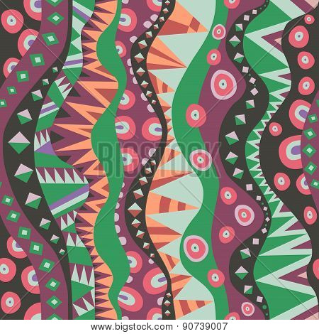 Seamless Motif With Vertical Tribal Aboriginal Pattern Vintage Colors
