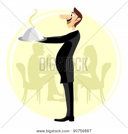 funny waiter holding silver serving dome