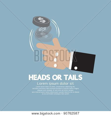 Heads Or Tails Cast Lots Concept.