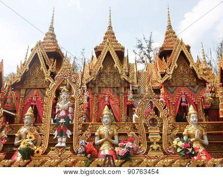 "Statue in the novels of Thailand ""Bun Bang Fai Festival"" poster"
