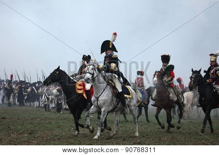TVAROZNA, CZECH REPUBLIC â?? DECEMBER 3, 2011: US actor Mark Schneider (L) dressed as Napoleon Bonaparte attends the re-enactment of the Battle of Austerlitz (1805) near Tvarozna, Czech Republic.