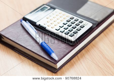 Classic Leather Notebook With Pen And Calculator