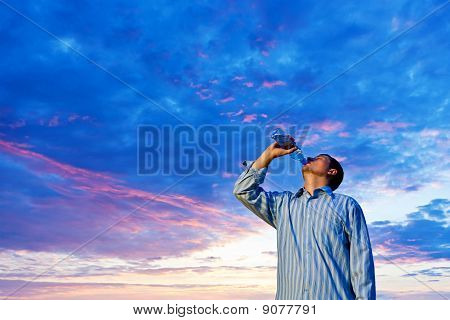 Man Drinking Pure Water