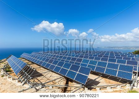 Field of solar collectors near sea