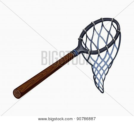 Illustration of butterfly net with handle.