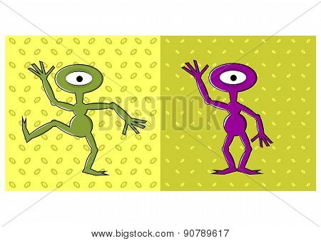 cartoon funny one eyed alien dancing