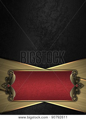 Black Background With Gold Stripes And A Red Sign With Gold Decoration. Design Template. Design For