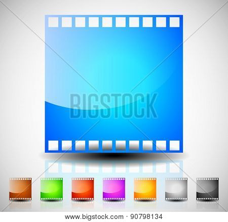 Film Strip, Film Frame Icons For Photography, Cinematography Concepts. 8 Colors Included To Match Yo