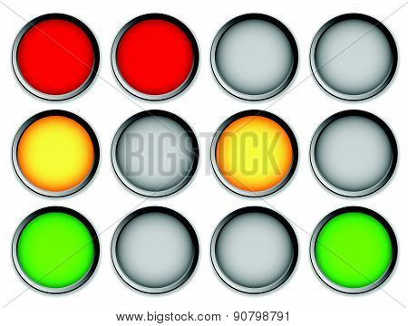 Traffic Lights, Traffic Lamps On White, Vector Graphic