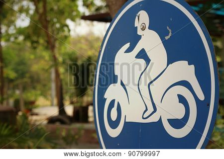 Sign Displaying The International Symbol For A Motorcycle