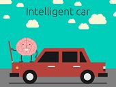 Intelligent car concept. Brain character coming out car's hood. EPS 10 vector illustration no transparency poster