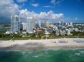 Aerial Miami Beach drone photo taken over the ocean poster
