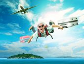 young man flying from passenger plane to natural destination island on blue ocean with happiness face emotion use for people traveling on vacation holiday in summer season poster