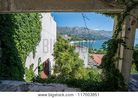 Adriatic Sea seen from abandoned hotel in former Tourist Complex of Kupari village Croatia poster