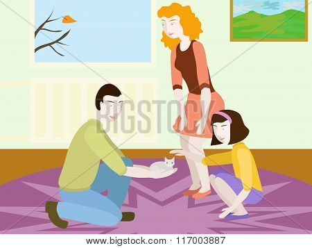 Vector Illustration Of Caucasian Family With Kitten Indoor. No Mesh, Gradient, Transparency. Objects