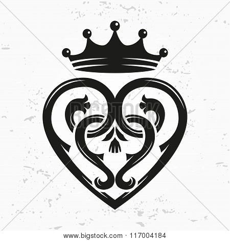 Luckenbooth brooch vector design element. Vintage Scottish heart shape with crown symbol logo concep