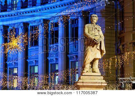 Bucharest, Romania - December 25: Piata Universitatii Romanian Statue On December 25, 2015 In Buchar