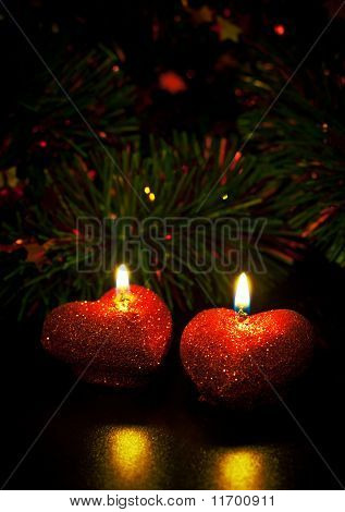 Christmas Card With Two Candles