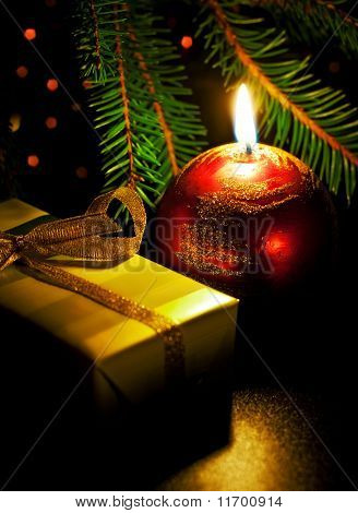 Candle And Gift Box