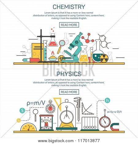 Science banner vector concepts in line style. Chemistry and Physics design elements. Laboratory work