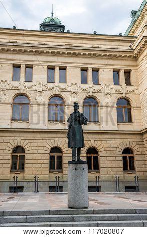 Pilsen, Czech Republic - October 3, 2015: statue of J. K. Tyl in front of Theatre in Pilsen