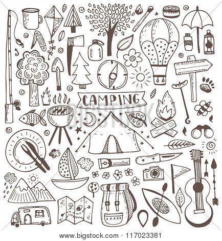 Camping doodle set.