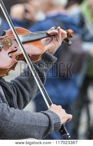 Violin Close Up With Hand