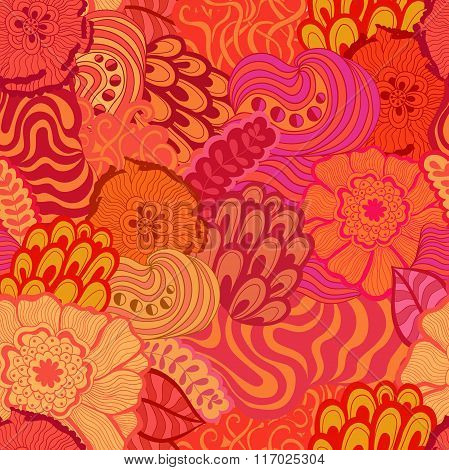 Vector seamless abstract hand-drawn pattern design