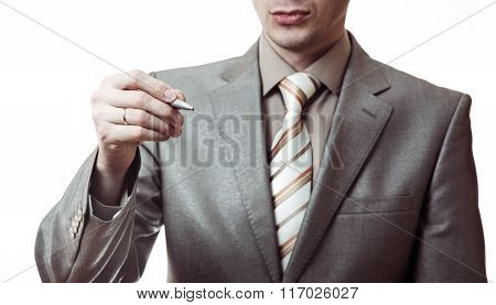 Businessman Writing, Drawing Isolated On White Background