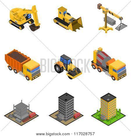 Construction Isometric Icons Set