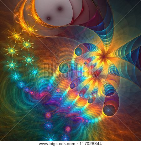 Micro space. fractal background cascade star drop