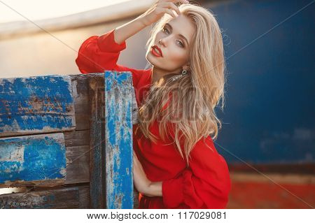 Portrait of beautiful women in old dock