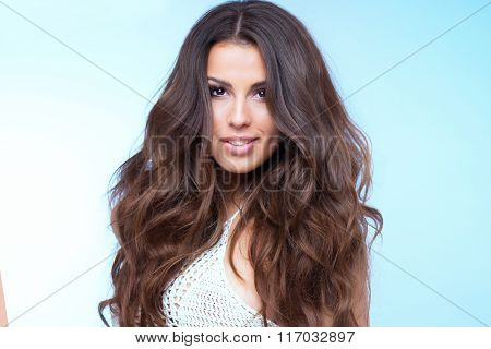 Beauty Portrait Of Brunette Lady.