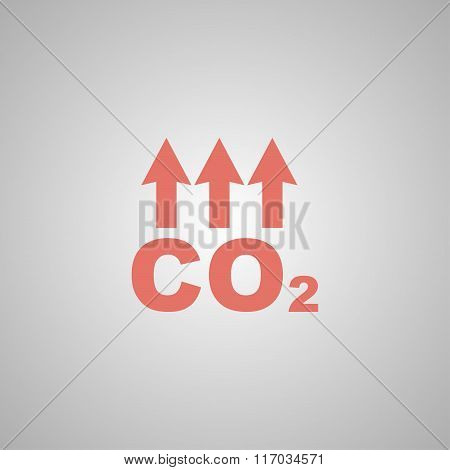 Chemistry sign. CO2 carbon dioxide icon. Flat poster