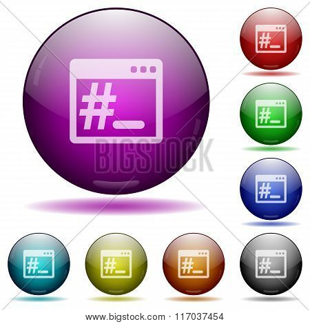 Linux Root Terminal Glass Sphere Buttons