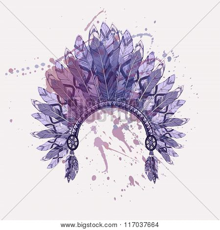 Vector Illustration Of Native American Indian Chief Headdress With Feathers On Watercolor Splash Bac