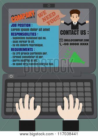 Job Finder Advertisement On Laptop