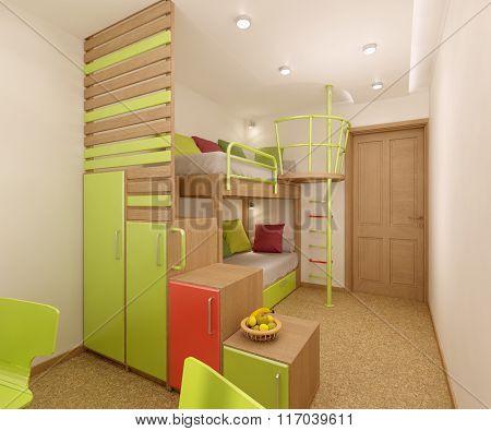 Nursery in green shades