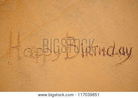 Happy Birthday Sign On The Beach