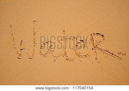 Sign Water Writen On Beach Sand