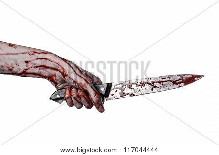 Bloody Hand Holding A Knife, A Large Bloody Knife, Bloody Theme, A Killer With A Knife, Halloween Th