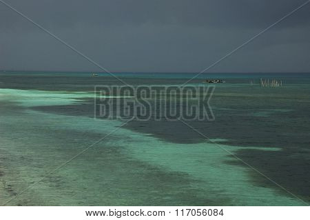 Philippines Sea And Fisher Man On Moonson Storm
