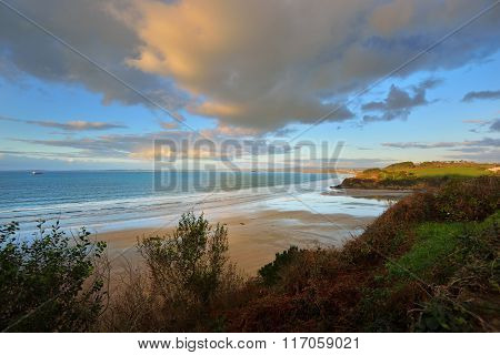 Ocean coastline at sunset in Bretagne (Brittany), France poster