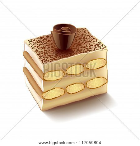 Tiramisu Isolated On White Vector