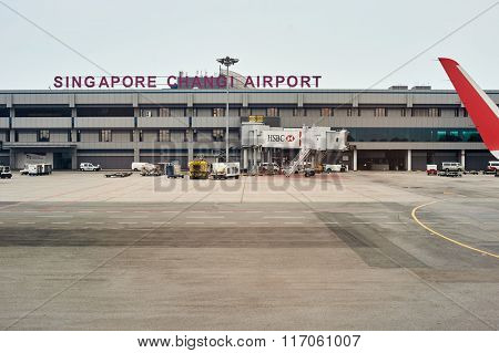 SINGAPORE - NOVEMBER 04, 2015: Changi Airport terminal. Singapore Changi Airport, is the primary civilian airport for Singapore, and one of the largest transportation hubs in Southeast Asia