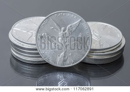 Stack Of Mexican Silver Bullion Coins